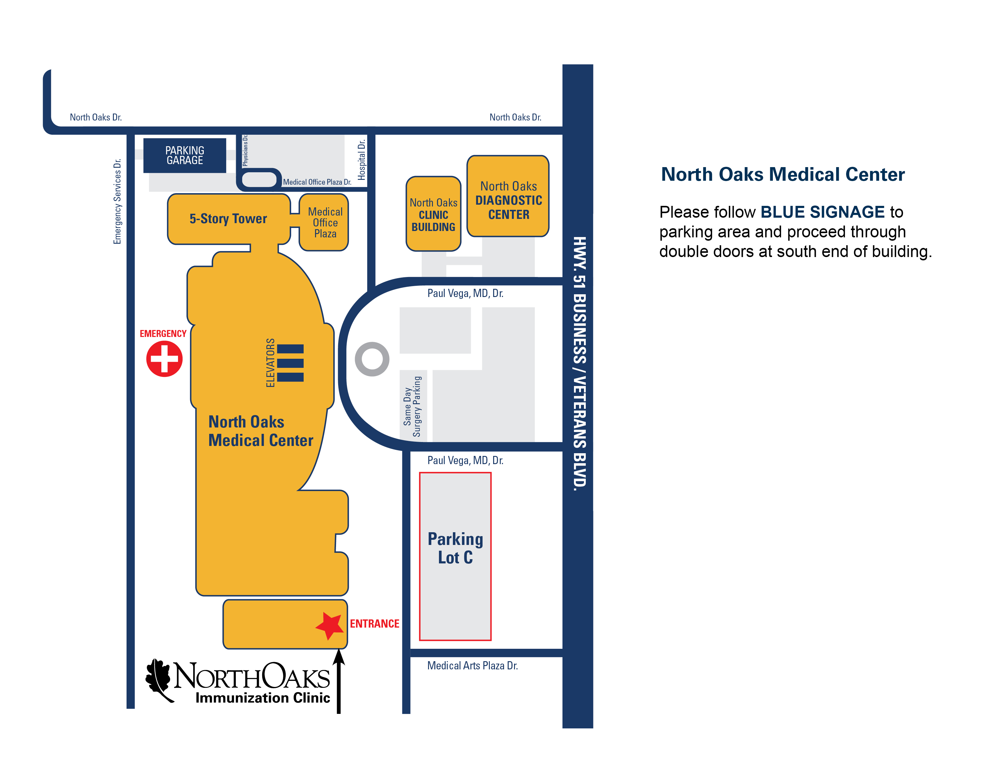 Map to North Oaks Immunization Clinic